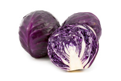fresh red cabbage on a white background